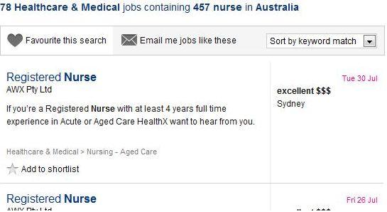 nursing in australia job results