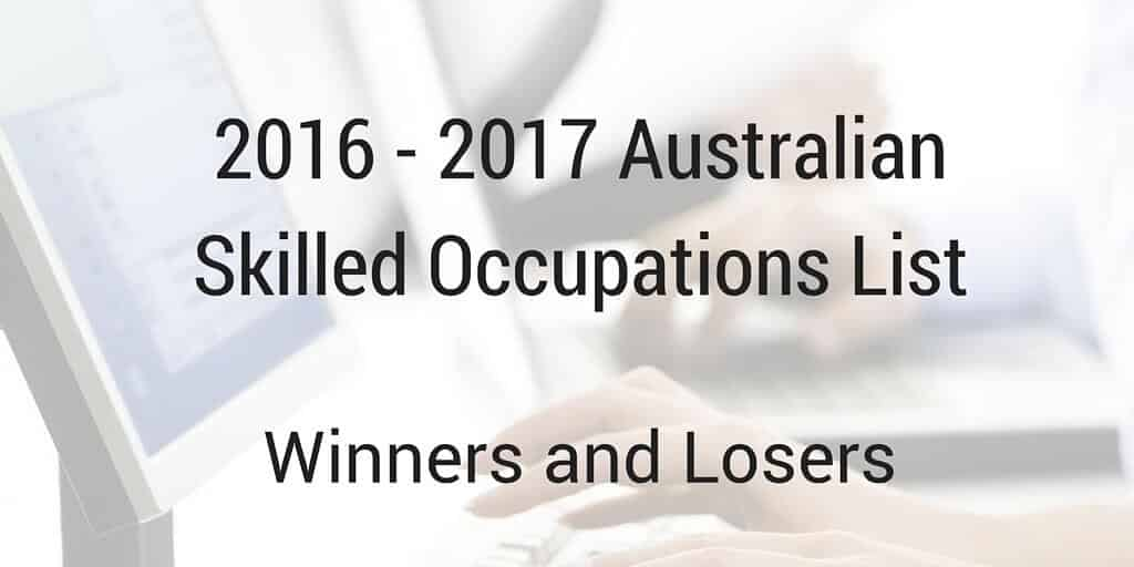 2016 - 2017 Australian Skilled Occupations List (SOL)