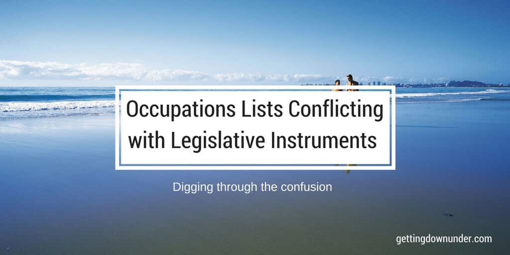 Occupations List And Legislative Instrument Conflicts Causing Confusion