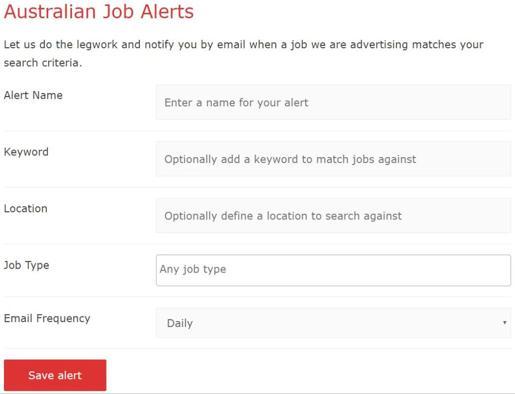 Job Alerts Now Available - job alerts, sponsored jobs in australia, working holiday jobs - Australian Job Alerts form