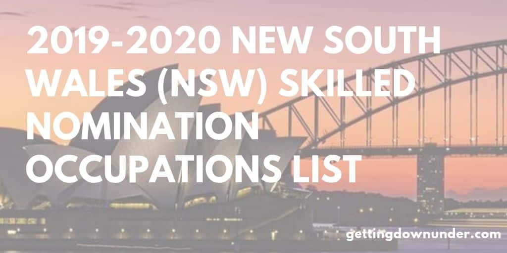 2019-2020 New South Wales (NSW) Skilled Nomination Occupations List
