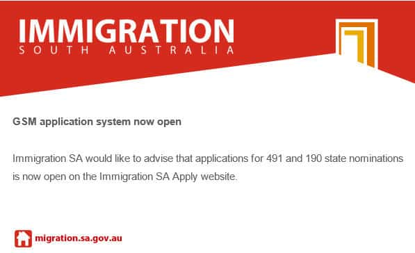 immigration south australia 491 190 Visa applications
