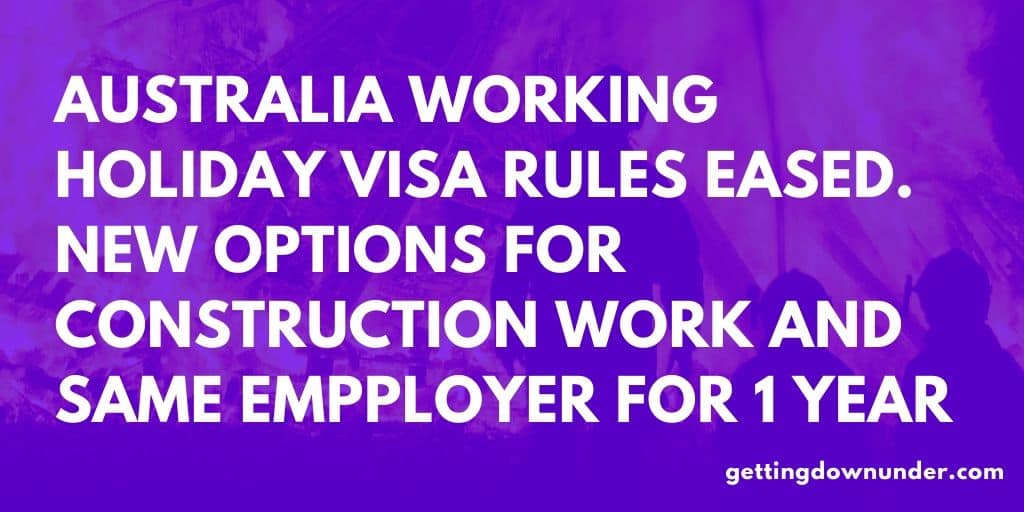 Australia Working Holiday Visa Rules Eased In Bid To Help Regional Australia Recover From Bushfires