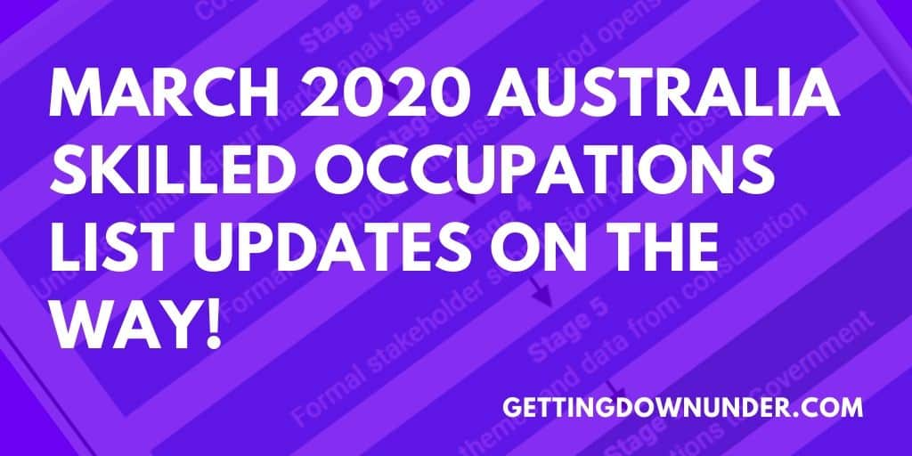MARCH 2020 AUSTRALIA SKILLED OCCUPATIONS LIST UPDATES
