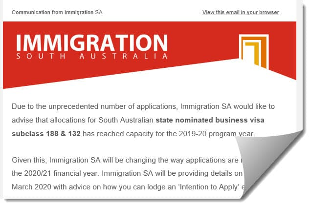 Subclass 188 132 Business Visa Capacity South Australia