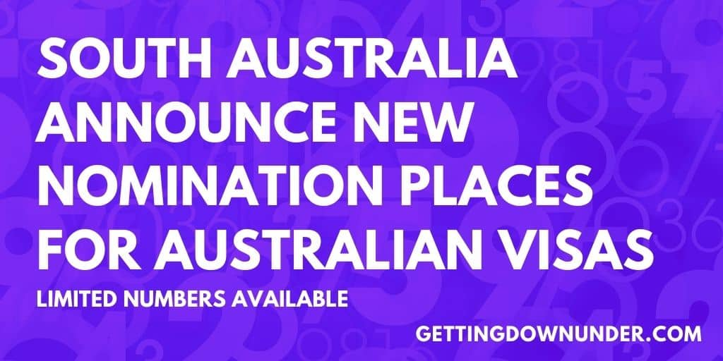 South Australia Announce Limited Nomination Places