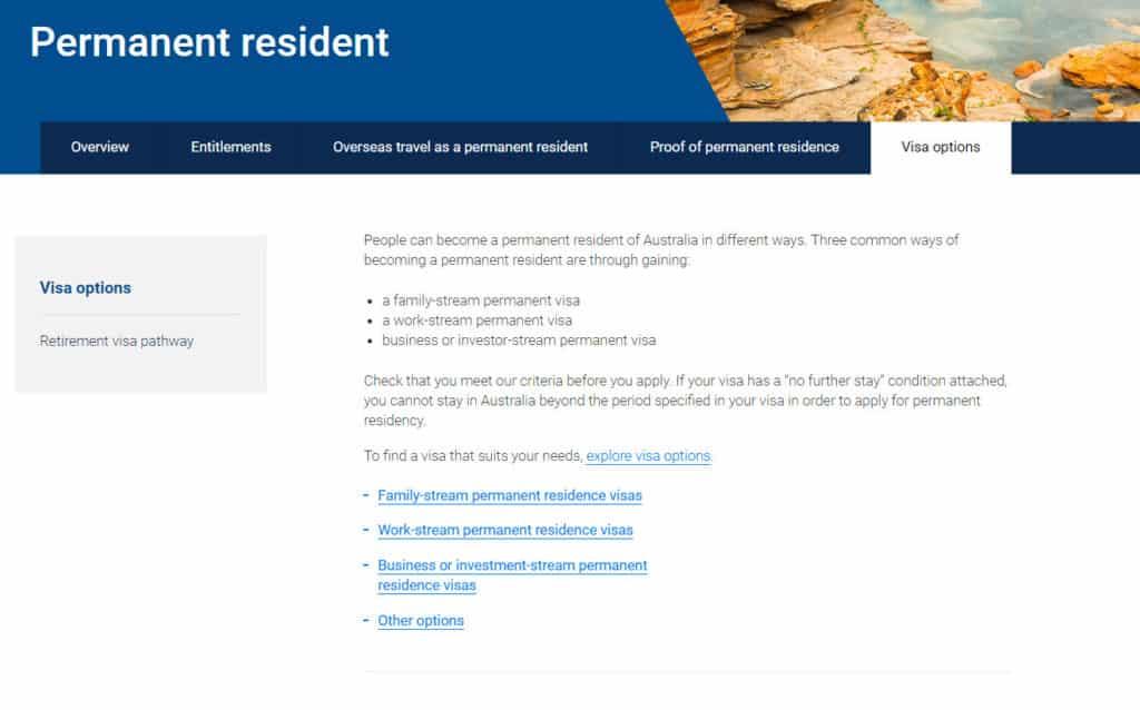 Australia permanent residency visa options
