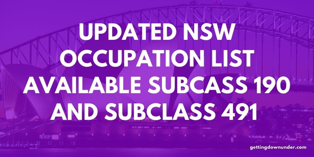 Updated NSW Occupation List - Subcass 190 and Subclass 491